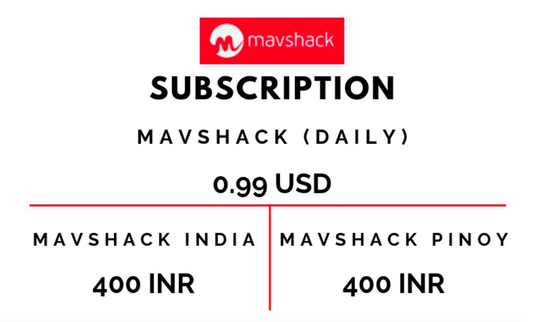 Mavshack Subscriptions Plans in India and Philippines