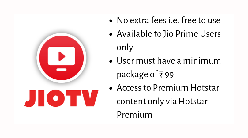 JIO TV Price of Subscription Plans