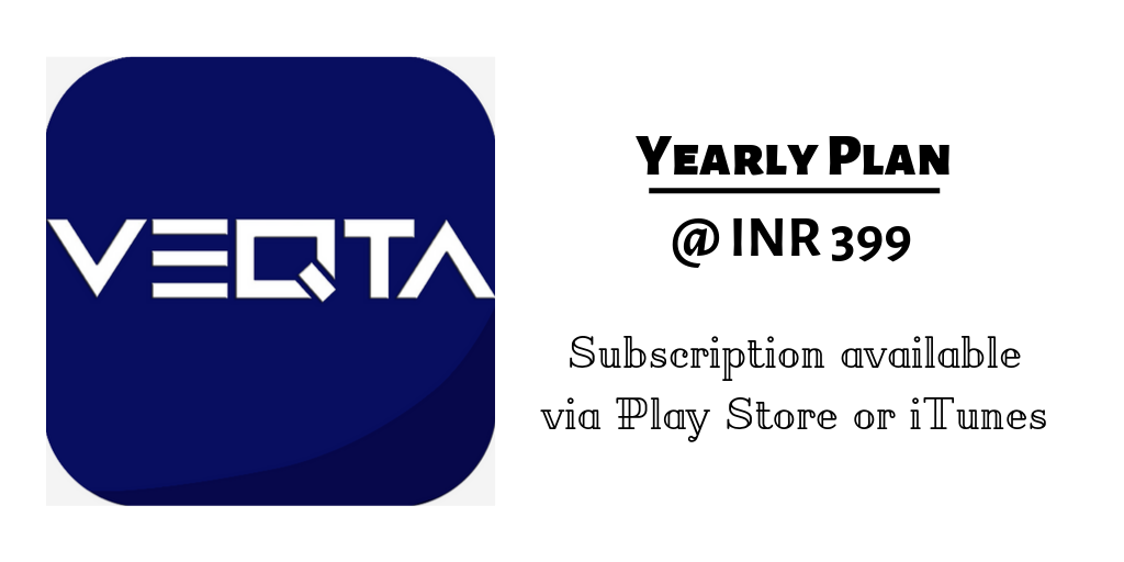 Veqta subscription plan of Rs. 399 per year.