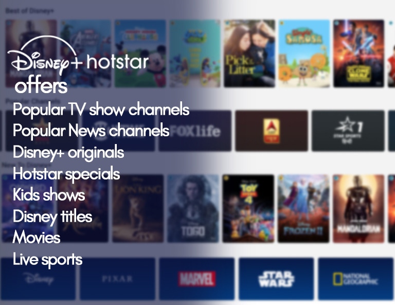 Disney+ Hotstar offers - Popular TV shows, News channels, Disney+ Originals, Hotstar Specials, Kids Content, Disney Titles, Movies, Live Sports