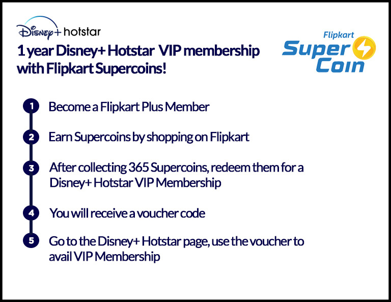 1-Year Disney+ Hotstar VIP Membership with Flipkart Supercoins