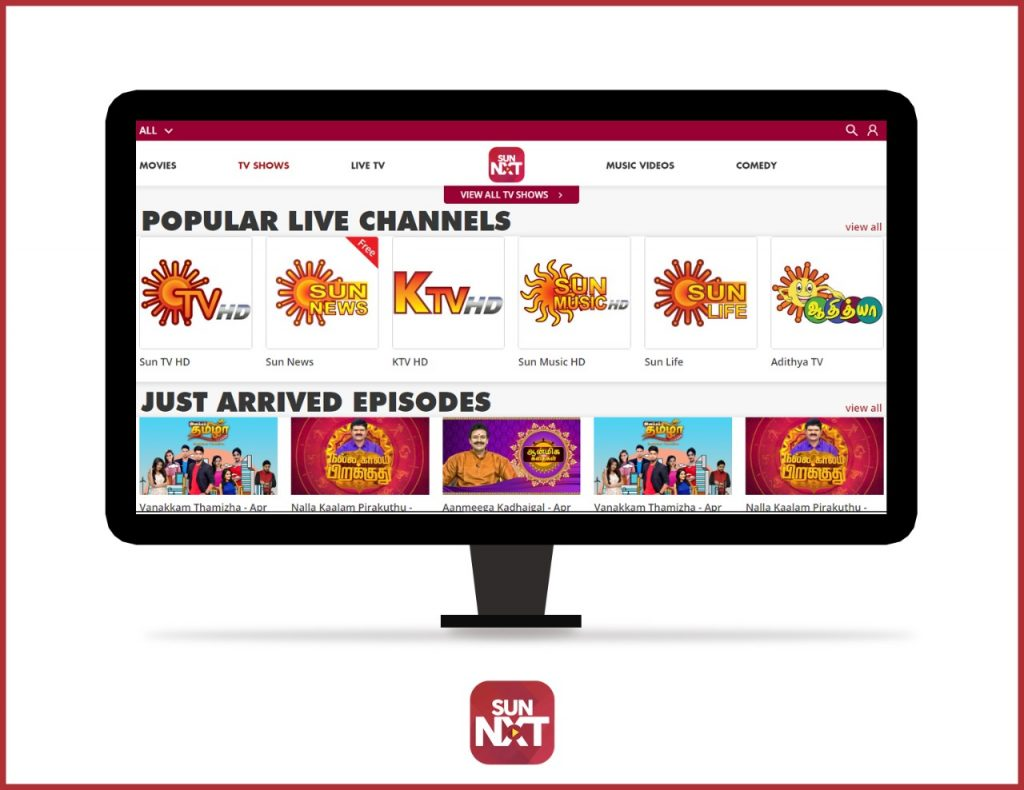 Sun NXT Popular live channels and shows