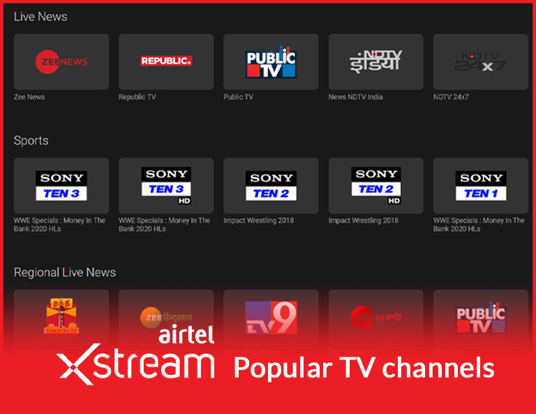 Airtel Xstream Popular TV Channels
